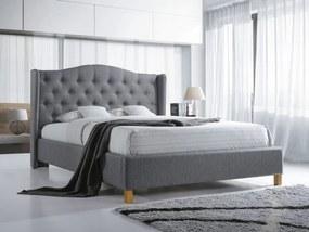 Sivá čalúnená posteľ ASPEN 160 x 200 cm Matrac: Matrac COCO MAXI 23 cm