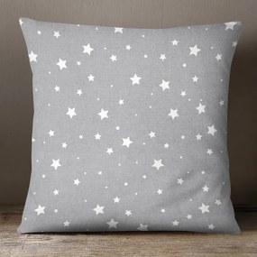 Goldea vianočná bavlnená obliečka na vankúš - vzor biele hviezdičky na sivom 40 x 40 cm