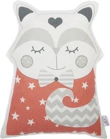 Červený detský vankúšik s prímesou bavlny Mike & Co. NEW YORK Pillow Toy Smart Cat, 23 x 33 cm