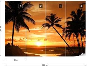 Fototapeta GLIX - Beach Tropical Sunset Palms + lepidlo ZADARMO Vliesová tapeta  - 254x184 cm