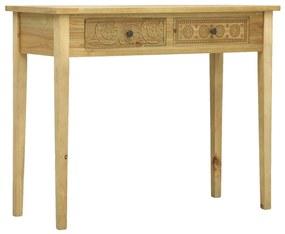 vidaXL Konzolový stolík s 2 zásuvkami hnedý 96x40x78 cm drevený vyrezávaný