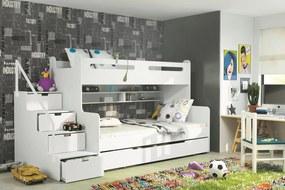 Poschodová posteľ MAX 3 - 200x120cm - Biela - Biela