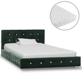 vidaXL Posteľ s matracom zelená 90x200 cm zamatová