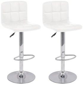 Biela otočná barová stolička z umelej kože, 2 ks