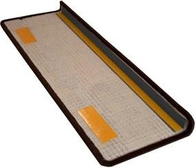 Vopi koberce Nášlapy na schody hnědý Eton obdélník - 24x65 obdélník (rozměr včetně ohybu)