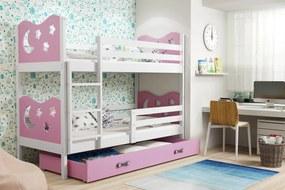 BMS Group Poschodová posteľ MIKO - pre dvoch so zásuvkou - BIELA