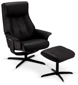 Relaxačné kreslo s podnožkou Abdu, čierne