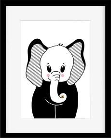 Plagát pre deti - Čiernobiely sloník A3
