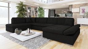 Luxusní sedačka ve tvaru U Bravo, černá   Roh: Orientace rohu Levý roh