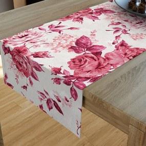 Goldea dekoračný behúň na stôl loneta - vzor veľké červené ruže 20x120 cm