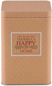 Altom Plechová dóza hranatá Happy Home, béžová