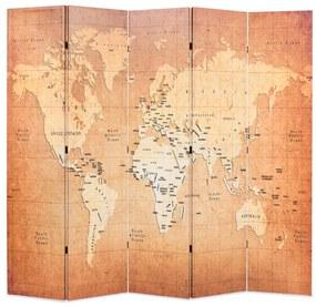 vidaXL Skladací paraván 200x170 cm, potlač mapy sveta, žltý