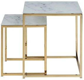 Alisma set konferenčných stolíkov biela / zlatá