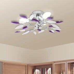 vidaXL Stropné svietidlo, akrylové krištáľové listové rameno, 3 E14 žiarovky