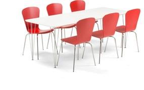 Jedálenská zostava: Stôl Zadie + 6 stoličiek Milla, červené