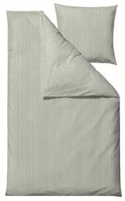 Svetlozelené obliečky na jednolôžko z ranforce bavlny Södahl Stripes, 140 x 200 cm