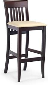HALMAR Hoker Mix barová stolička tmavý orech / krémová