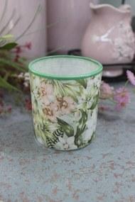 Zeleno ružový kvetinový svietnik 7cm