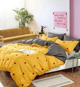 DomTextilu Žlté posteľné obliečky s motívom sŕdc 4 časti: 1ks 200x220 + 2ks 70 cmx80 + plachta Žltá 38147-179677