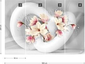 Fototapeta GLIX - 3D Structure Flowers White And Grey + lepidlo ZADARMO Papírová tapeta  - 368x254 cm