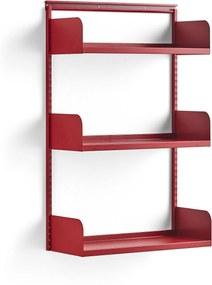 Nástenný regál, základná sekcia, oceľové police, 1237x800x300 mm, červený