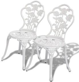 Biele bistro stoličky 2 ks, odliatok hliníka, 41x49x81,5 cm