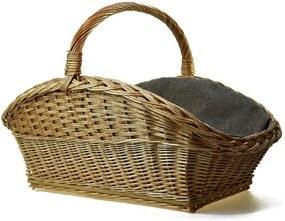 Vingo Proutěný koš na dřevo se šedou textilií