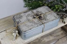 Plechová sivá krabička s obrázkom anjela 16cm