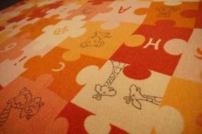 3kraft Detský koberec PUZZLE oranžový