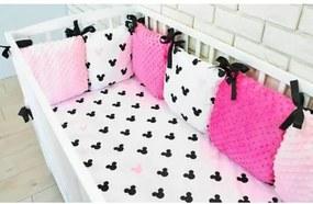 Baby Nellys Vankúšikový mantinel Minky s obliečkami, 135x100 - Mickey, růžová Baby Nellys 100750