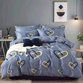 HOD Bavlnené obliečky HEART PAIR modré 7 set 140x200cm