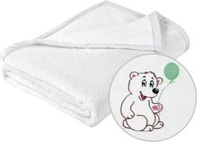 Brotex Mikro deka detská s výšivkou 75x100 cm Biela