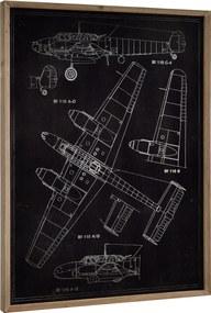 [art.work] Dizajnový obraz na stenu - hliníková doska - lietadlo (nákres) - zarámovaný - 80x60x2,8 cm