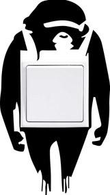 """GLIX Banksy """"Monkey"""" - samolepka na zeď Čierna 9 x 12 cm"""