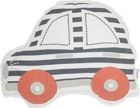 Sivo-červený detský vankúšik s prímesou bavlny Mike & Co. NEW YORK Pillow Toy Car, 32 x 25 cm