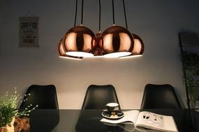 Dizajnová závesná lampa Briella- zlatoružová