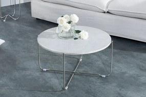 Bighome - Konferenčný stolík NOBL - biela, strieborná
