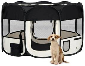 vidaXL Skladacia ohrádka pre psa s prenosnou taškou čierna 125x125x61 cm