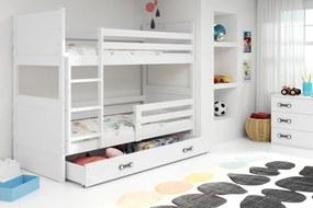 BMS Group Poschodová posteľ RICO - pre dvoch so zásuvkou - BIELA