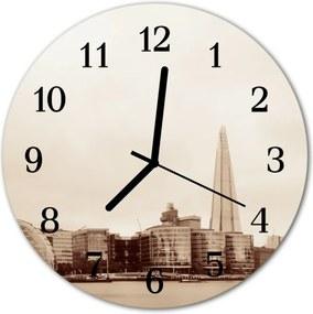 Nástenné sklenené hodiny  Čierne a biele mesto