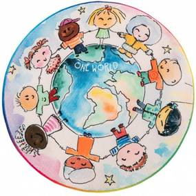 Obsession koberce Dětský kusový koberec Juno 477 World Map kruh - 120x120 (průměr) kruh cm