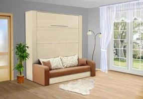 Nabytekmorava Sklápacia posteľ s pohovkou VS 3071P . 200x140 nosnost postele: štandardná nosnosť, farba lamina: breza 1715, farba pohovky: nubuk 133 caramel