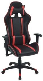 Sklápacie kancelárske kreslo, pretekársky dizajn, umelá koža, červené