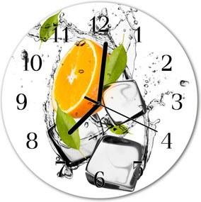Nástenné sklenené hodiny  oranžová zmrzlina