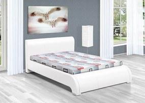 Luxusná posteľ 200x140 cm z eko kože Seina Barva: eko kůže bílá, typ matrace: bez matrace