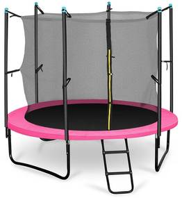 Rocketgirl 250, 250 cm trampolína, vnútorná bezpečnostná sieť, široký rebrík, ružová