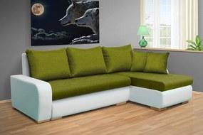 Nabytekmorava Rozkladacia sedacia súprava Fokus farba eko kože: eko biela 120, farba vankúšov: farba sedáku, farba sedáku: Savana zelená 35