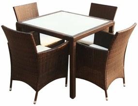 9-dielna súprava záhradného nábytku, hnedý polyratan
