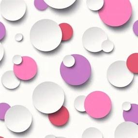 Vliesové tapety, guličky biele, ružové, fialové, Just Like It J63406, UGEPA, rozmer 10,05 m x 0,53 m