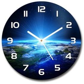 Sklenené hodiny okrúhle Planéta Zem pl_zso_30_f_35518882